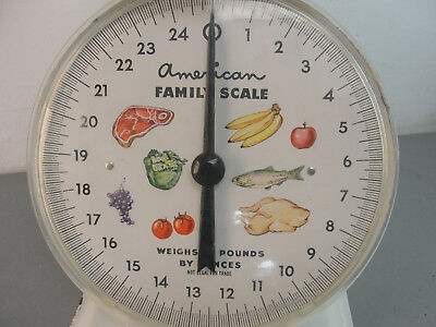 American Family 25 Lb Pound By Ounces Kitchen Counter Food Scale White Vintage