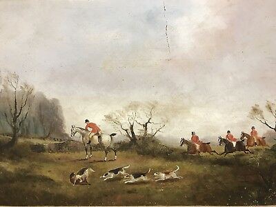 PHILIP RIDEOUT Antique victorian 19th century Oil painting on board hunting