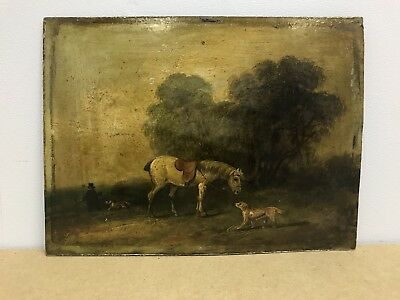 Antique victorian 19th century Oil painting on board hunting with dogs and horse