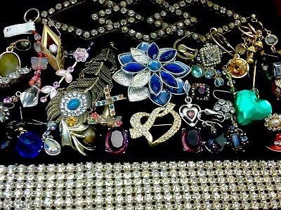 Large Lot Of Vintage~Now Rhinestone, Crystal.. Jewelry For Repair, Parts (E333)