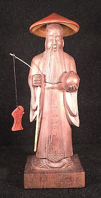 Confucius Chinese Hand Carved Wooden Fisherman Old Man Figure Statue Nice