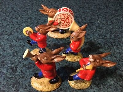 1984 Royal Doulton Bunnykins Oompah Band Golden Jubilee Figurines Drum Horn +
