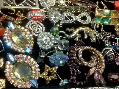 Large Lot Of Vintage~Now Rhinestone, Crystal.. Jewelry For Repair, Parts (E332)