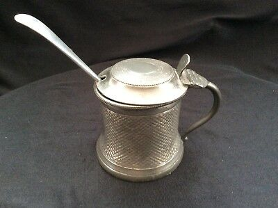 Vintage Metal Mustard Pot With Ceramic Pot And A Spoon