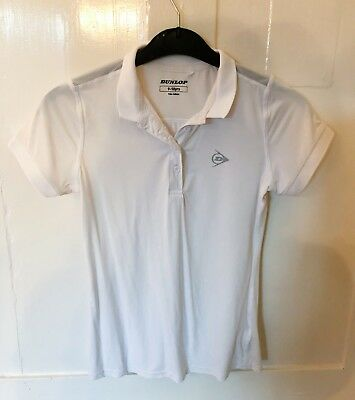 Excellent Condition White Dunlop Sports Shirt Short Sleeved Age 9-10