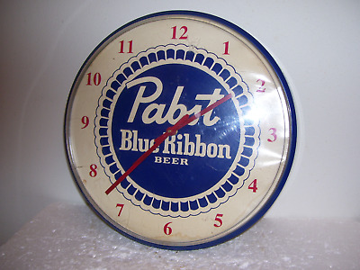 Vtg 1980's Pabst Blue Ribbon Beer Sign Clock Super Clean Works Perfect