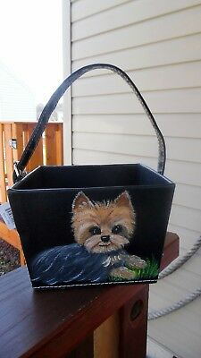 Hand Painted Yorkie Yorkshire  Terrier  Basket with handle