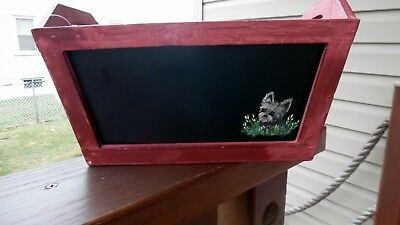Hand Painted Yorkie Yorkshire  Terrier  Planter Chalkboard