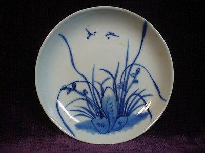 Lovely Antique Chinese 19C blue white porcelain plate orchard marked 玩玉款清代青花盘