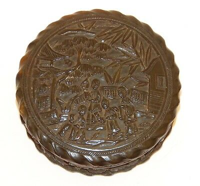 """Antique c19th CHINESE Hand Carved 3"""" Round SNUFF BOX Pot Cantonese Village Trees"""