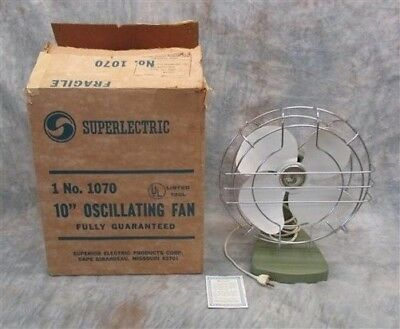"1970 Superlectric Fan NEW/OLD STOCK 10"" Oscillating Blades ORIGINAL BOX Avacado"