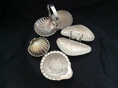 Vintage Shell Shaped Silver Plated Dishes.