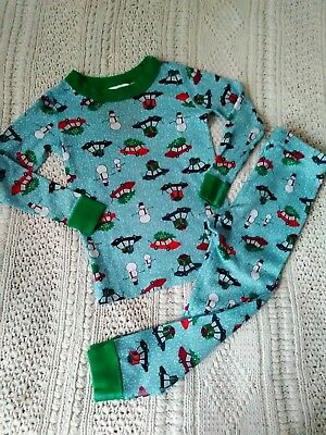 Hanna Andersson Pajamas Size 100 us 4T Snowman Tree Car Good Condition