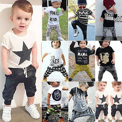 2pcs Baby Boy T-shirt Tops Pants Trousers Outfit Toddler Kids Summer Clothes Set