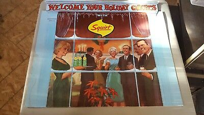 Original 1962 Squirt Soda Cardboard Sign not Crush Cola VG Great color