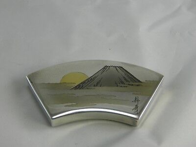 Vintage Japanese sterling silver brass mixed metal snuff pill box case