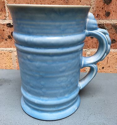 English Pottery - Crown Ducal Late 1930's Huge Double Handled Blue Glaze Tankard