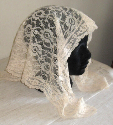 Vintage Triangle Cream Lace Church Head Scarf W/ White Pearl Embellishment