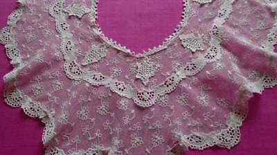 Exquisite Victorian  Lge.lace Collar ~Appliqued Motifs ~Embroidered Floral Stems