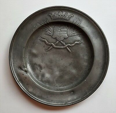 "Antique 9"" Pewter Plate with Crest of Arms - age unknown"