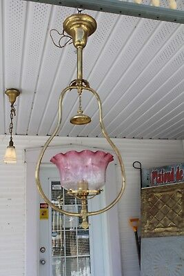 Antique Victorian Hanging  Ceiling Light Fixture Lamp With Cranberry Shade