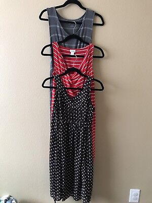 Maternity Dress Lot Dots S Small Brown Red Stripes Gray Nautical FREE BOW BELT