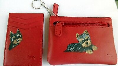 Hand Painted Yorkie Yorkshire  Terrier  Key Chain Mini wallet