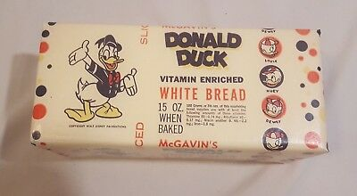 Vintage Disney DONALD DUCK WHITE BREAD Loaf 1950s Unused Stock McGavin's Sliced
