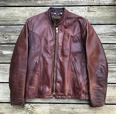 FIDELITY LEATHERS Vintage Brown Cafe Racer Leather Motorcycle Jacket Men's 40