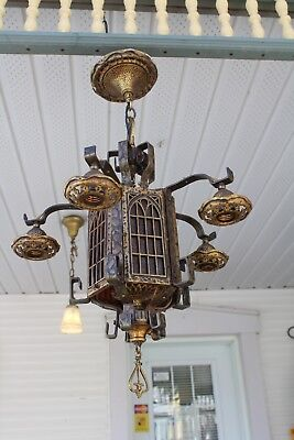 Antique Gothic Hammered Style  Hanging  Ceiling Light Fixture Lamp Mica Piece