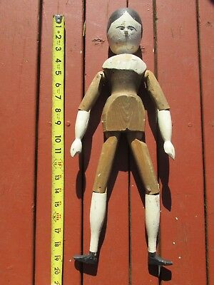 "Antique 19th Century Large 19"" Wooden Painted Doll"