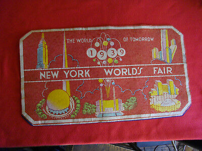 1939 NY Worlds Fair World of Tomorrow Place mat. Vintage Antique BEAUTIFUL