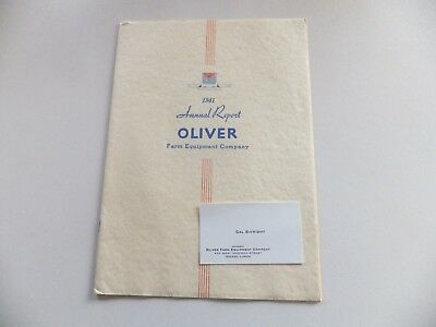"""""""oliver Farm Equipment Co. 13Th Annual Report"""" (1941) + Business Card"""