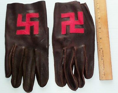 Vintage Native American Brown gloves with Good Luck Swastica