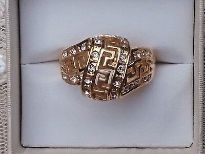 Stunning Gold Plated White Stone Ring