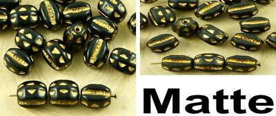 20pcs Black Gold Wash Striped Oval Animal Insect Bug Czech Glass Beads 8mm x 6mm