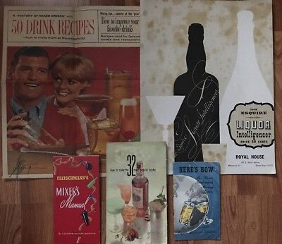 5 Vintage Cocktail Mixed Drink Liquor Recipe Booklets Promo Guides 1940's-1960's