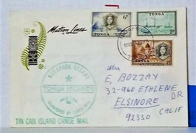 1966 TIN CAN ISLAND CANOE MAIL TONGA COVER W/ 13 Signatures VERY NICE!