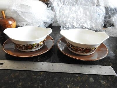 J&G Meakin Bali 1970s pattern PAIR soup bowls orange, yellow and brown vintage
