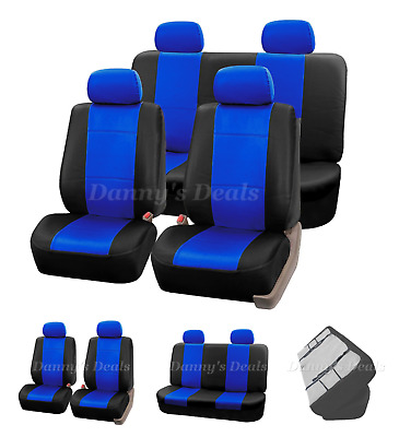 Black Blue Leather Car Seat Covers Cover Set For Fiat Panda 2004 - 2011