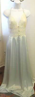 LILY of FRANCE blue GLOSSY satin full sweep string straps bride night gown M