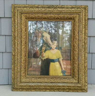 Antique Wood Picture Frame Ornate Gold Gesso Large