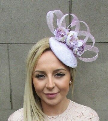 Light Lilac Feather Sinamay Peony Flower Pillbox Hat Fascinator Races Rose 5301