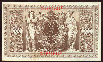 1910 1000 Mark XF Germany Vintage Antique Rare Paper Money Old Banknote Currency