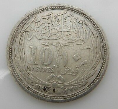 Egypt 1917 10 Piastres Silver Coin--Very good condition!