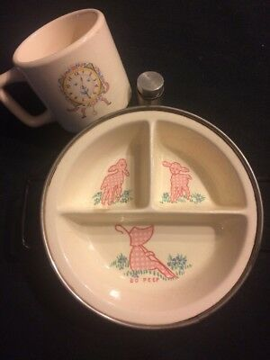 Vintage Baby Warming Plate, Divided, W/Cup, Bo Peep, Cats, Clock With Face
