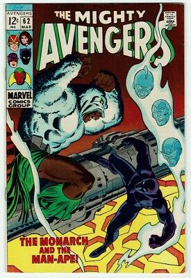 The Avengers #62 (Marvel 1969) VG-FN, Raw BLACK PANTHER + 1ST APPEARANCE MAN-APE