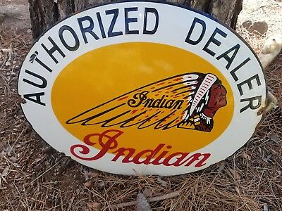 "20"" ""Indian. Motorcycle  ""oval  Steel porcelain vintage  advertising sign"