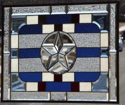 "•Patriot • Beveled Stained Glass Window Panel•  28 ¾""X20 ¾""(73x53cm)"