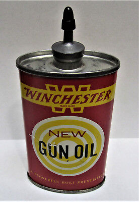 Vtg Winchester New Gun Oil Lead Top 3 Oz New Haven Ct Advertising Tin Can  *NICE